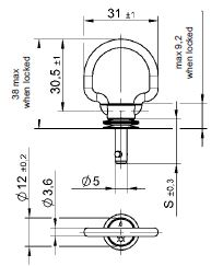 turnlock MHSTLFB-16Z technical drawing
