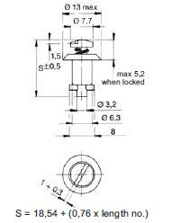 turnlock MTHTLS-40N technical drawing